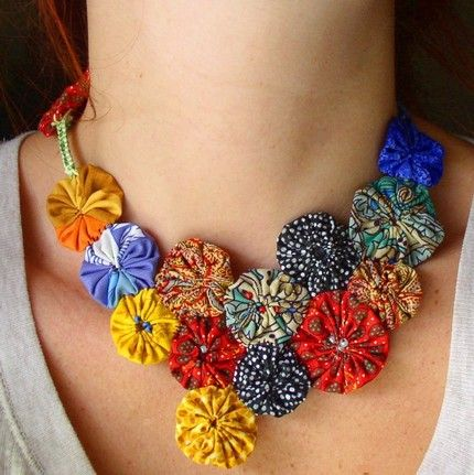 Etsy TheOffBeatArtisans YoYo Blossom neckpiece fabric necklace made from recycled fibers ADJUSTABLE - Stylehive