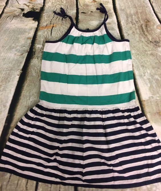 babyGap Girl 5T Sundress Blue/Green/White Striped Spaghetti Strap 100% Cotton #babyGap #Sundress #Casual
