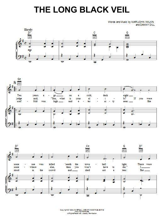 Johnny Cash The Long Black Veil Sheet Music And Printable Pdf Music Notes Sheet Music Johnny Cash Sheet Music Notes