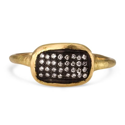 18k gold ring with oxidized silver + diamonds