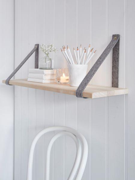 delightful white living room gray sofas suspended shelving | Contemporary Scandi Shelf - Grey | Contemporary shelves ...