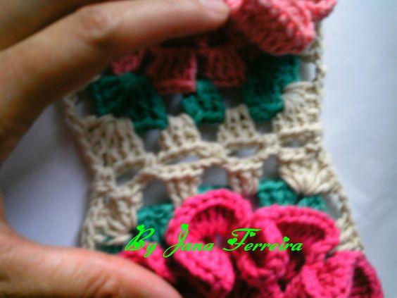 Cantinho da Jana: Passo a passo de como emendar quadrado em crochê