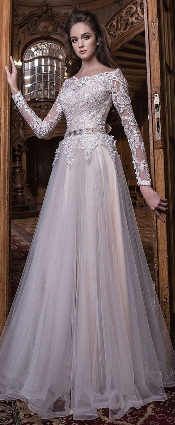Elegant Tulle Off-the-shoulder Neckline Natural Waistline A-line Wedding Dress