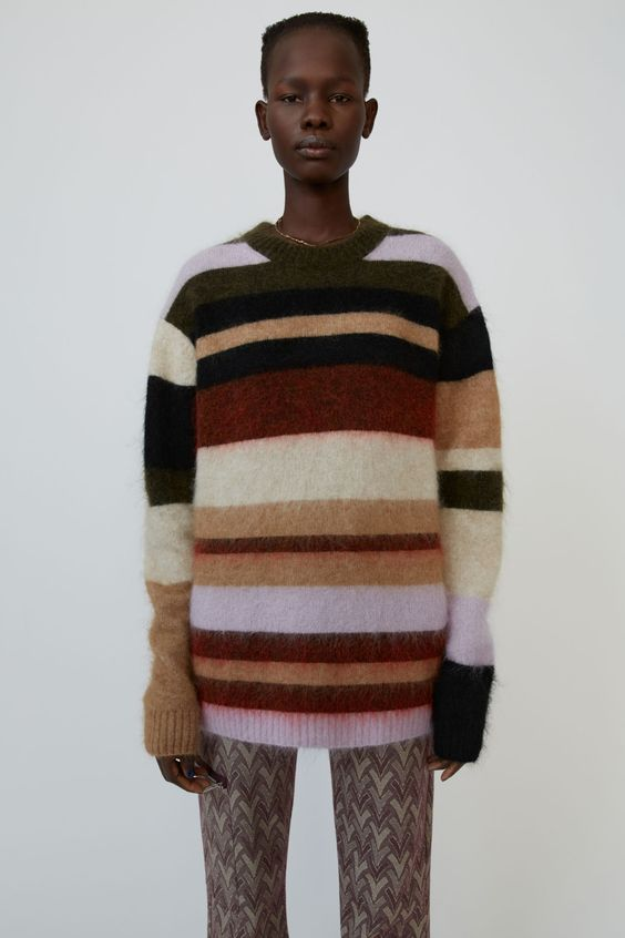 Acne Studios - Oversized striped sweater Olive/red multi