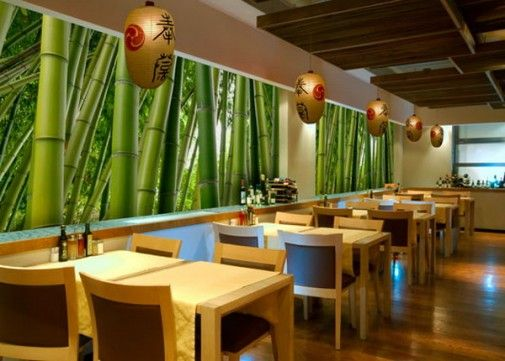 Small Restaurant Interior Design Ideas with Bamboo Wall Murals ...