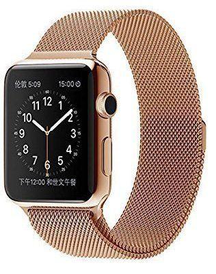 42 mm Apple Watch Milanaise Edelstahl Armband Magnet-Verschluss Luxus Uhrenband Strap Genius Stainless Steel Basic / Sport / Edition - Keine Schnalle benötigt - in Gold von OKCS® - http://on-line-kaufen.de/okcs/42-mm-magnet-rose-gold-38-mm-apple-watch-milanaise