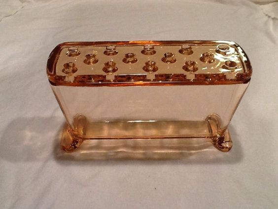 Fostoria Pink Depression Glass Window Sill Flower Frog Planter Vase Flower Pot