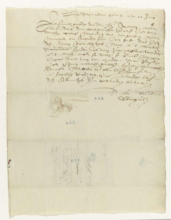 Hendrick Goltzius   Brief van Goltzius met buste van een grijsaard, Hendrick Goltzius, 1605   Brief van Goltzius aan de goudsmit Hans van Weely, Amsterdam, van 10 juni, 1605; met in het midden van het blad een tekening van een grijsaard.