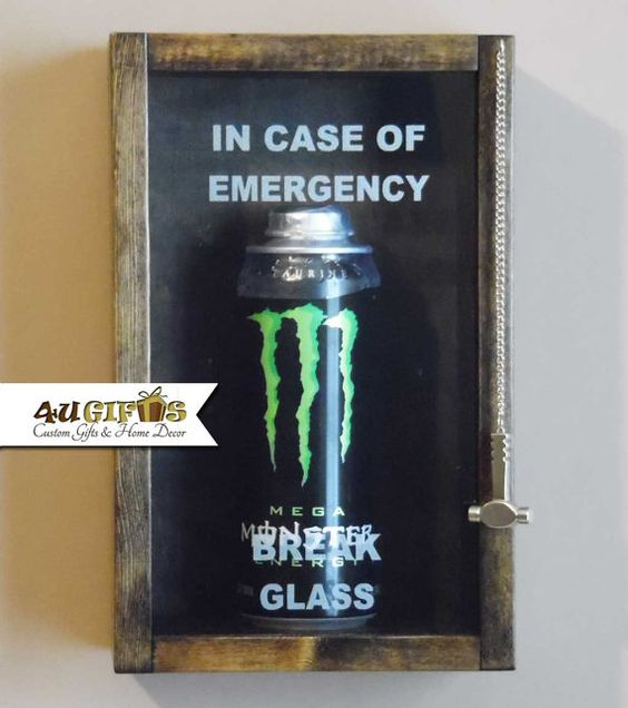 In Case of Emergency Break Glass Monster Energy by 4UGIFTSONLINE