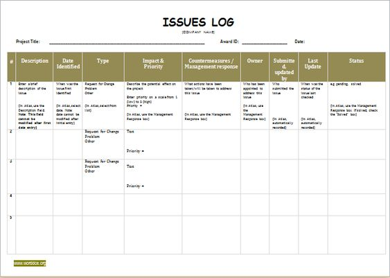 Issue Log Template DOWNLOAD at    worddoxorg issue-log - visitors log template