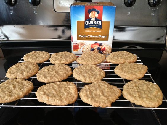 Not sure what to do with those leftover oatmeal packages?! Instant oatmeal cookies Cream 1/2 cup butter with 1/4 cup of white and 1/2 cup of brown sugar. Add a well beaten egg + 1tbsp of milk to mixture. In another bowl mix 3-4 pkg of instant oatmeal, 1 cup of flour, 1/2 tsp of baking soda & 1/4 tsp of baking powder. Add dry ingredients to wet and drop spoonfuls onto baking sheet. Bake for 10-12 minutes at 350. Cool & instant yummy!