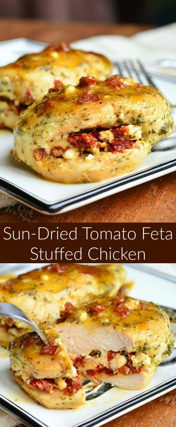 Sun Dried Tomato Feta Stuffed Chicken. Amazing chicken dinner recipe. Juicy chicken breasts are stuffed with a mixture of sun-dried tomatoes and feta cheese, coated in fresh pesto, and pan-grilled for an easy dinner. #chicken #pesto #sundriedtomatoes #feta #easydinner #chickenrecipes