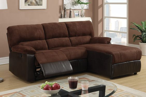 Chocolate microfiber reclining sectional sofa recliner for Brown microfiber chaise lounge