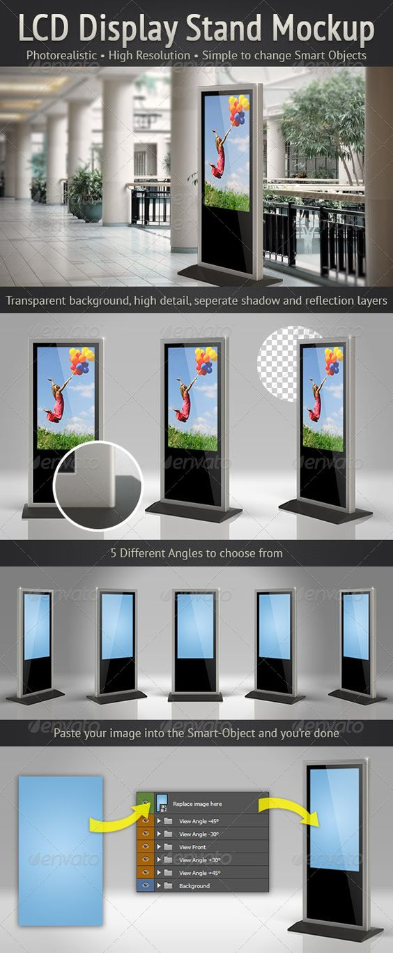 Simple Exhibition Stand Mockup : Lcd display stand mockup advertising tvs and the smart