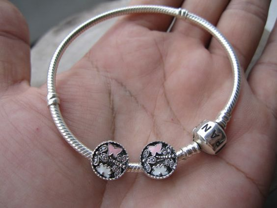 Dragonfly Butterfly flower charmsterling silver by ALOR925 on Etsy