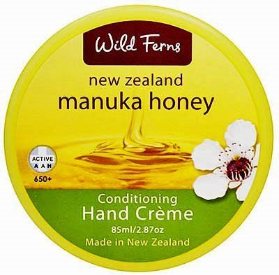 Manuka Honey Wild Ferns Hand Cream by Wild Ferns. $13.80. Manuka Honey Wild Ferns Hand Creme 85ml/2.87oz A protective hand cream which will moisten, soothe and protect dry or roughened hands. The protective and moisturizing qualities of Manuka Honey will assist in restoring the hands to a soft, smooth condition. Ideal for potters, gardeners, or any other hard-working hands! From Auckland, NZ.
