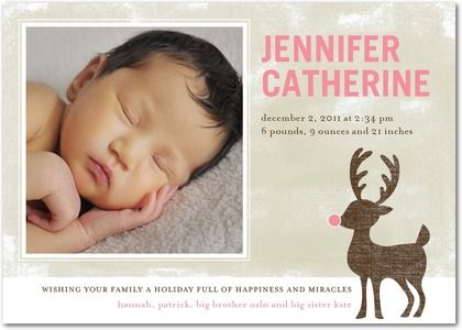 Winter Girl Birth Announcements Frosted Reindeer: Girl - Front : Watermelon