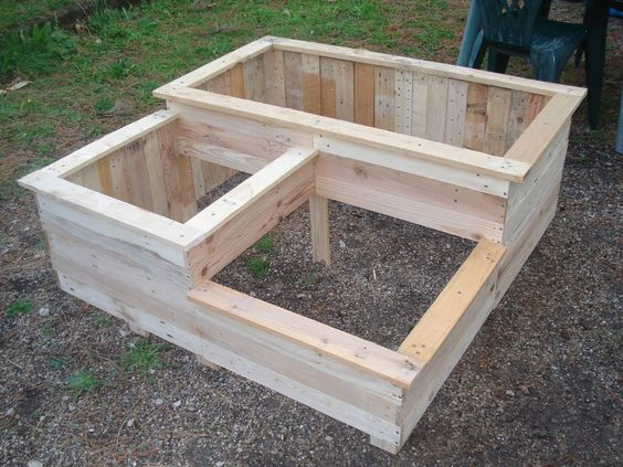 carr potager en bois de palette pallet raised bed les. Black Bedroom Furniture Sets. Home Design Ideas
