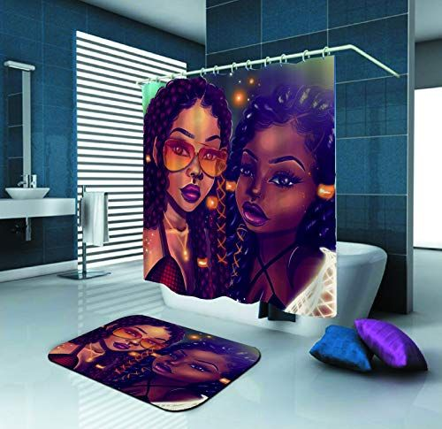 Afro African Black Girl Bubble Pattern Bathroom Decor Shower Curtain /& Painting