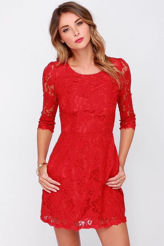 Waiting around for Prince Charming is so once upon a time, so go after what you want in the Somebody to Love Backless Red Lace Dress! Sheer red floral lace shapes this sexy red dress, with a rounded neckline, flattering three-quarter length sleeves (trimmed in eyelash lace) and a fitted bodice. Two sheer lace panels at back join with a looping button closure at the neck, forming a chic triangular cutout. Skirt is backed by woven red poly. Hidden back zipper with clasp. Bodice and skirt are…