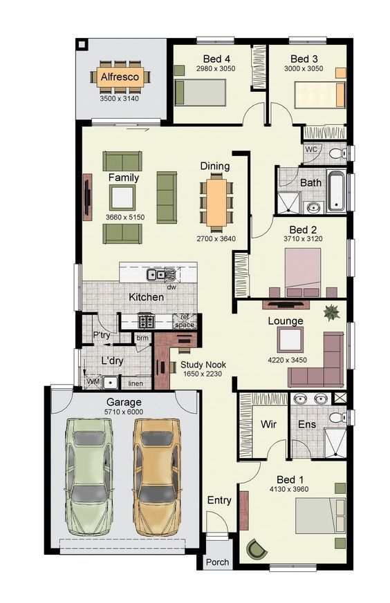 Single Story Home Floor Plan With 4 Bedrooms Double Garage And 171 Square Meters One Floor House Plans Small House Plans Porch House Plans