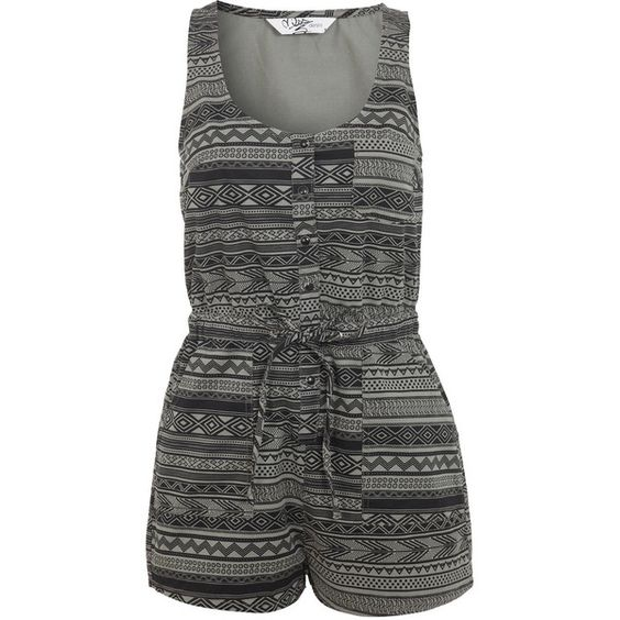 Miss Selfridge Aztec Print Denim Playsuit (1,205 INR) ❤ liked on Polyvore featuring jumpsuits, rompers, playsuit, dresses, miss selfridge, romper, assorted, aztec romper, denim romper and green rompers