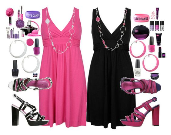 """""""PiNk OR BlACk"""" by pinkamby ❤ liked on Polyvore"""