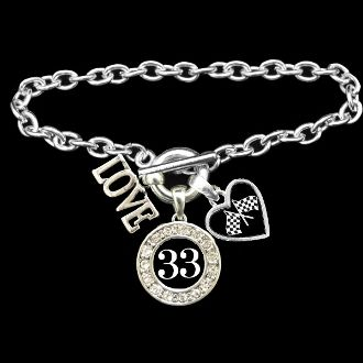 Custom Number 3 Charm Auto Racing Bracelet - Charming Collectables----For #16, Greg Biffle of course :)