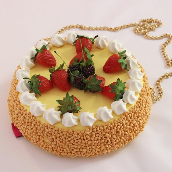 STRAWBERRY CHEESECAKE PURSE  SHOP: link in bio  #strawberry #strawberries #fruit #berries #whippedcream #cream #cheesecake #cake #cakes #pie #pastry #pastries #baking #cooking #purse #bag #handmade #accessories #rommydebommy #art #design #designer #fashion #fashionista #hungry #food #foodie #foodporn