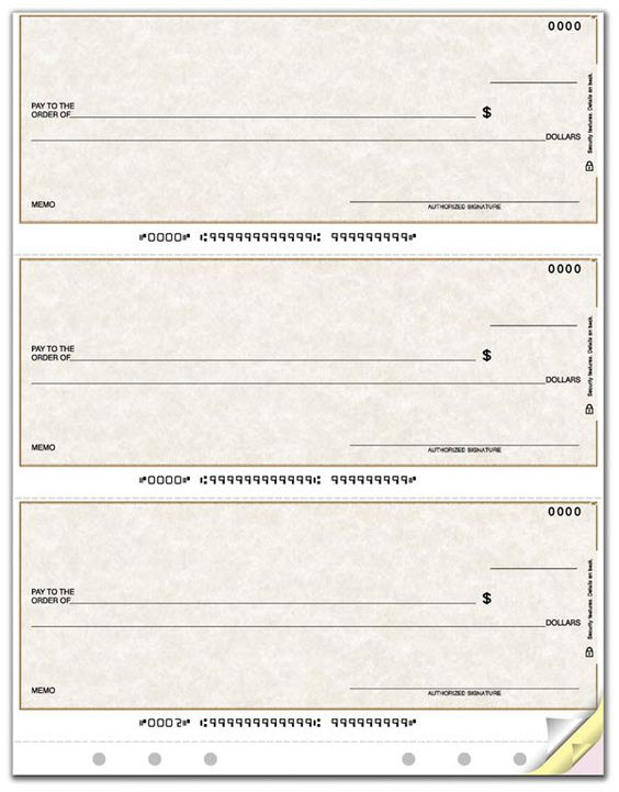 Laser Printer 3-on-a-Page Check, Lined, Hole-punched Item Number - payment slips