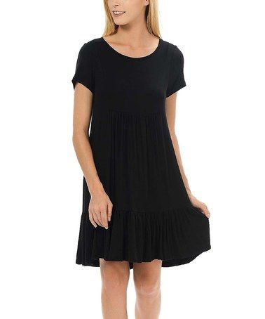 Another great find on #zulily! Black Ruffle-Hem Empire-Waist Dress #zulilyfinds