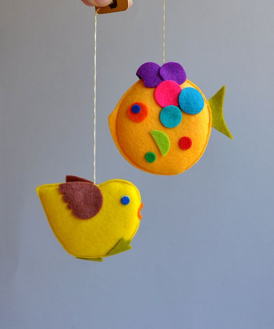 Handmade Felt Chick or Fish Ornament - Austria - Choice