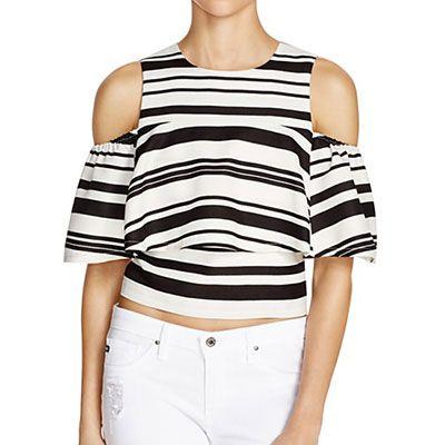 J.O.A. Stripe Ruffle Top - stripe crop top, stripe ruffle top, stripe cold shoulder top