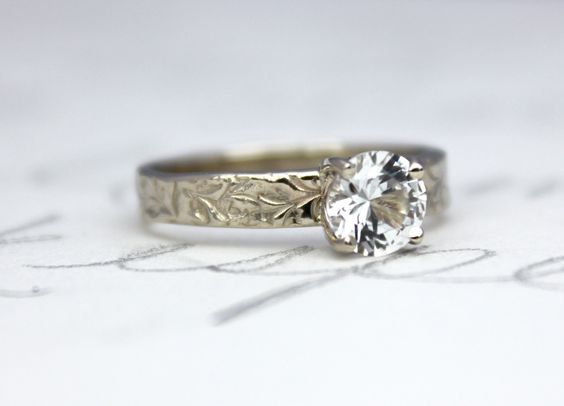 White sapphire gold engagement ring . recycled 14k white gold prong set ring . custom personalized . engraved secret message