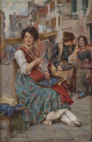 Giuseppe Vizzotto Alberti, Giovani donne che tingono il filato