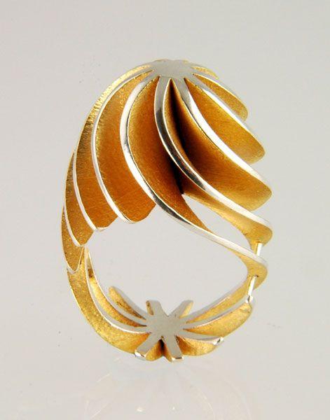 Sarah Herriot Flourish Ring gold architectural swirl ring