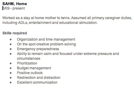 stay at home mom resume - Google Search Going back to work - stay at home resume