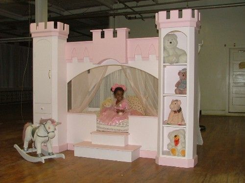 Princess canopy princess beds and castle bed on pinterest for How to build a castle bed