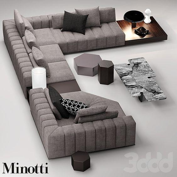 3d Minotti Freeman Seating System Sofa