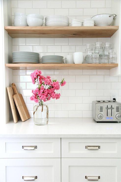 wood open shelves, white kitchen: