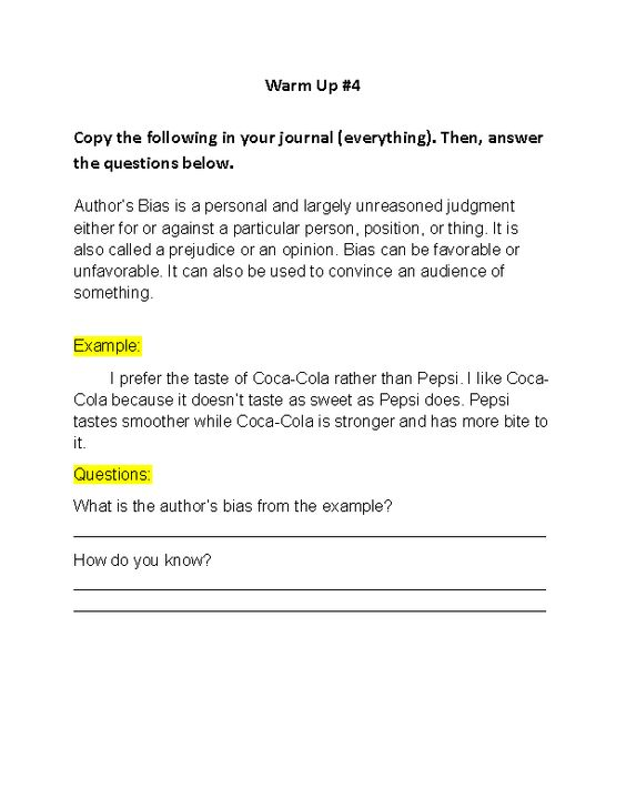 Writing Prompt 4 Author's Bias Writing Prompt Worksheet   English ...