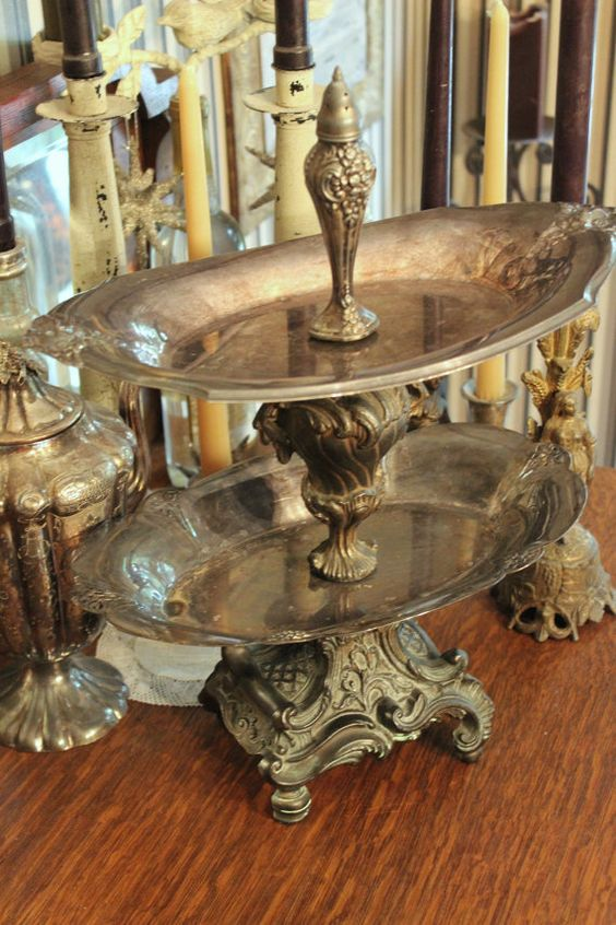Jewelry Stand  Vintage Silverplate  Two Tier  by BeautifulRuin, $72.00