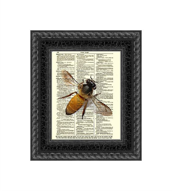 Bee Print on Antique Dictionary Page Bee by ReImaginationPrints