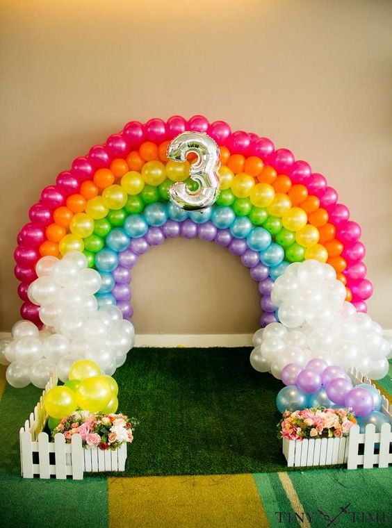 Rainbow balloon arch at a My Little Pony birthday party! See more party planning ideas at CatchMyParty.com!: