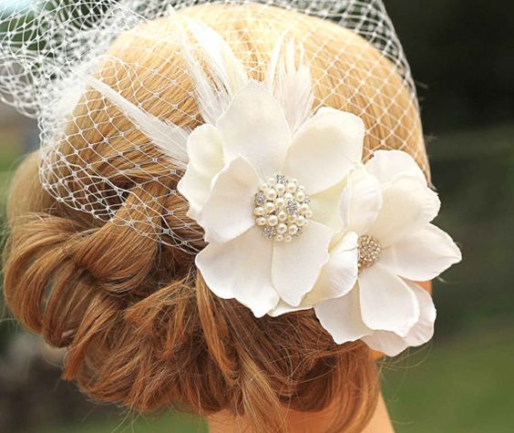 Ivory Birdcage Veil Large Flower by Made4YouBoutique on Etsy, $65.00