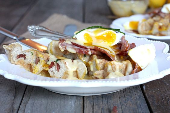 Eggs Benedict: Paleo Savory Bacon Waffle, with Poached egg, ham, and coconut oil hollandaise sauce