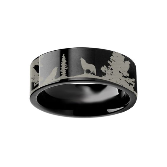 Animal Scene Wolf Wolves Canvas Ring Engraved Flat Black Tungsten Ring - 4mm - 12mm
