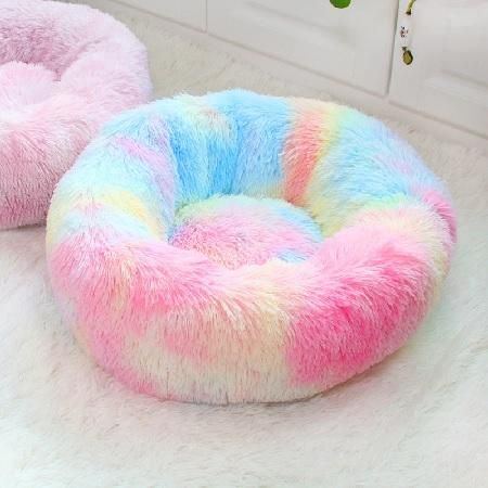 Rainbow Plush Bed In 2020 Washable Dog Bed Dog Bed Cat Bed
