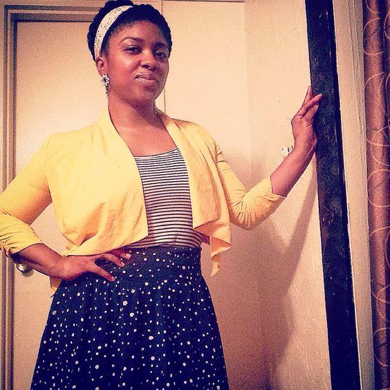 The sun is still shining. ☀️☀️☀️  #ootd #style #fashion #stripes #polkadots #color #gold #yellow #navyblue #vegan #naturalhair #skin #happythursday #beautifulisblack