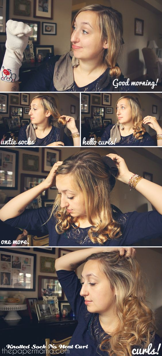 Hair Tutorial: Knotted Sock No Heat Curl